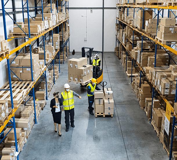 Warehouse workers during coronavirus epidemic